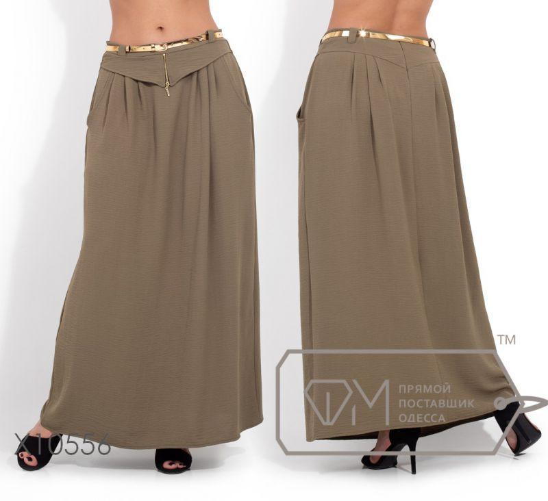 Однотонная летняя длинная юбка 50,52,54,56