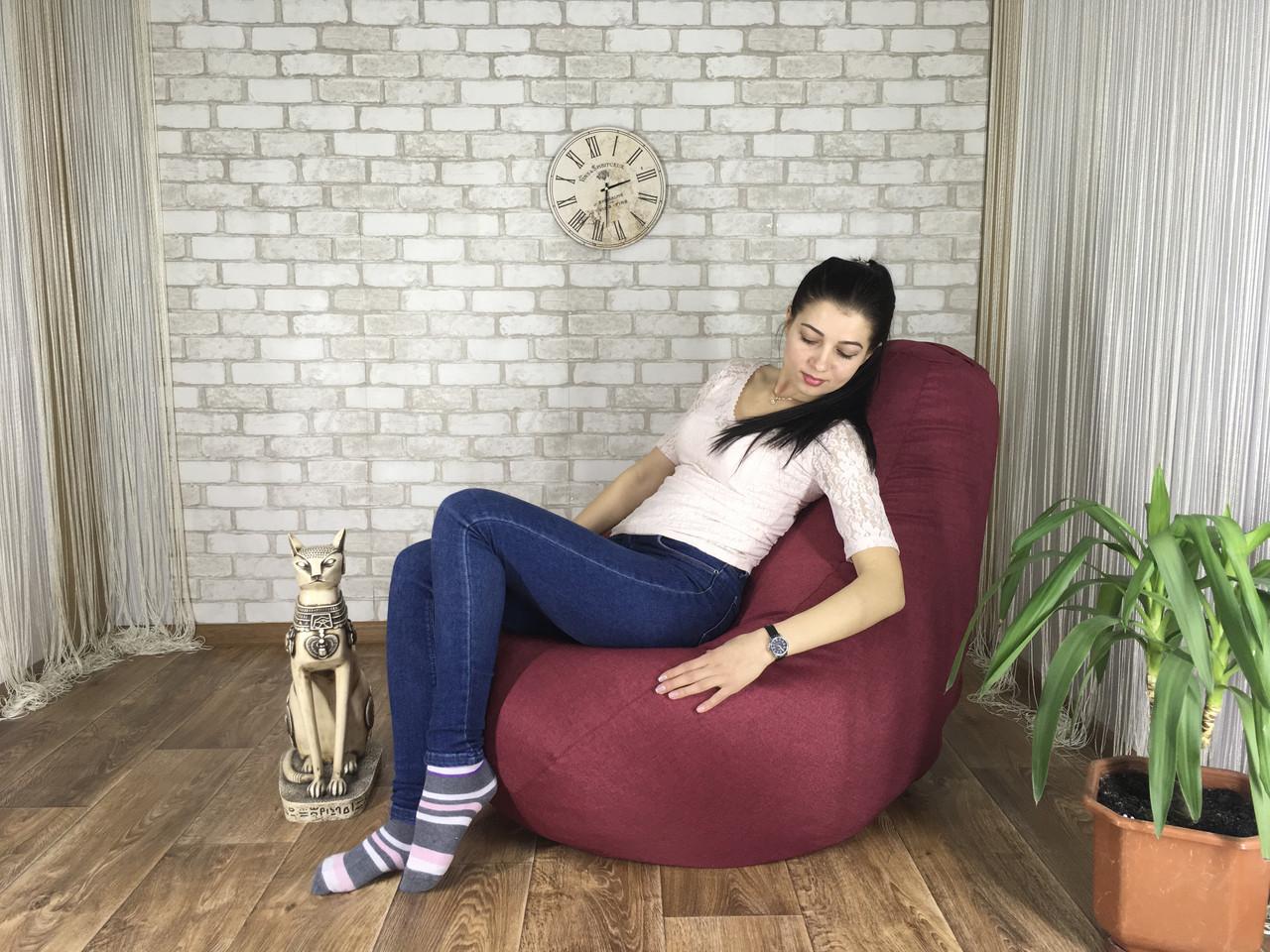 Кресло Мешок, бескаркасное кресло Груша ХХЛ, микро рогожка бордо