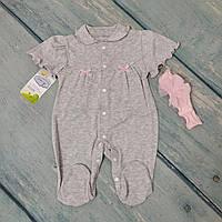 Человечек и повязка на голову для новорожденного (ажур), ТМ Happy Tot