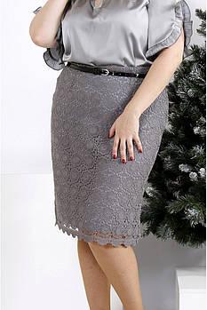 / Размер 42-74 / Женская юбка до колен серого цвета 0950