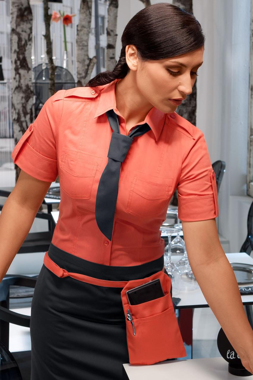 Блуза женская официанта TEXSTYLE сафари короткий рукав фрез