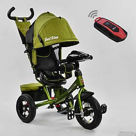 Дитячий триколісний велосипед з пультом Best Trike 7700 B 9570 поворотне сидіння, надувні колеса