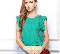 Новинка! Летняя стильная женская шифоновая блузка без рукавов, женский летний топ, цвет - зеленый