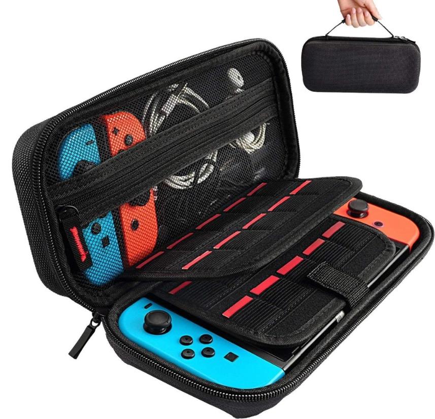 Тканевый чехол-кейс с ручкой для Nintendo Switch /Вместительный / Стекла есть в наличии /