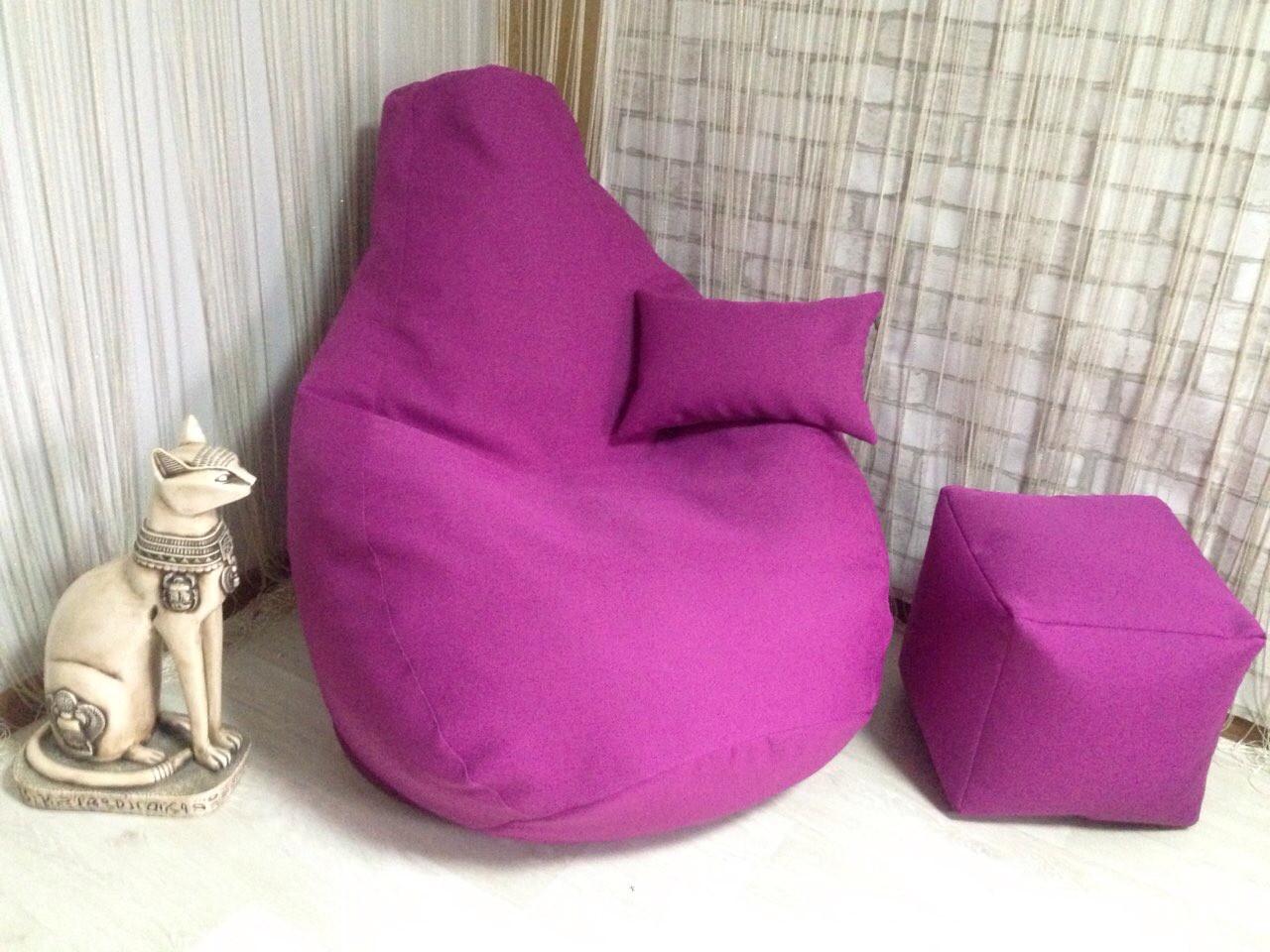 Кресло Мешок, бескаркасное кресло Груша ХХЛ, микророгожка, розовый