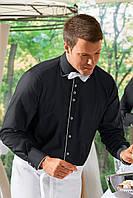 Рубашка официанта, бармена мужская TEXSTYLE с кантом черная