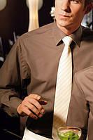 Рубашка официанта мужская TEXSTYLE длинный рукав классика коричневая