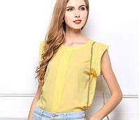 Новинка! Летняя стильная женская шифоновая блузка без рукавов, женский летний топ, цвет - желтый