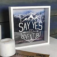 Деревянная копилка для денег Say yes to adventure