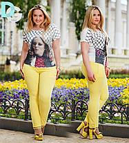 Д656  Женские брюки  с подворотом  Лимонный, фото 3