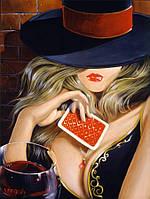 Картина по номерам Девушка с игральной картой