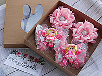Набор детских украшений для волос в коробочке, цвет розовый