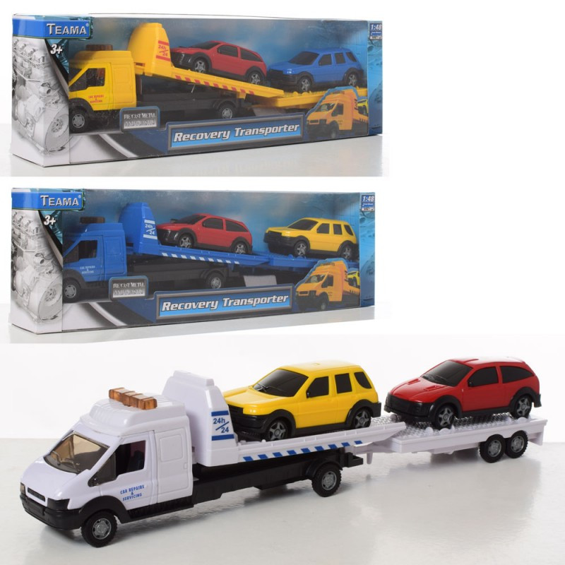 Трейлер 60062 металева, 1:48, машинки 2 шт., 3 кольори, в коробці, 37,5-11,5-6 см