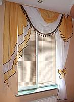 Ламбрекен №27а на карниз 1.5м. с шторкой. Цвет золотистый