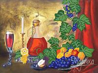 """Ткань с рисунком для вышивания бисером """"Натюрморт с вином"""""""