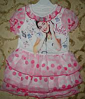 Платье трикотажное с шифоновой юбкой с рюшами 1-3года розовое