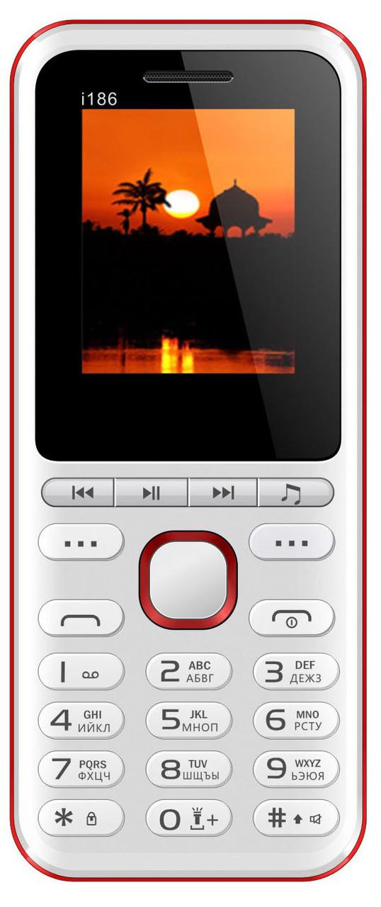 Кнопочный мобильный телефон Nomi i186 White+Red