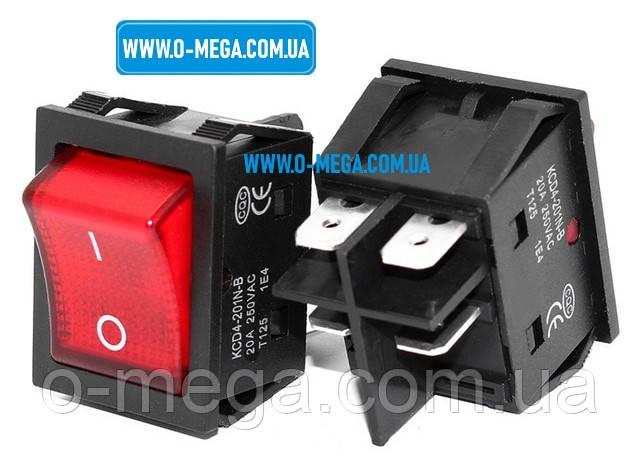 Кнопочный выключатель для сварочного аппарата 20A, 4 контакта с фиксацией и подсветкой 28,5 * 22,0 мм.
