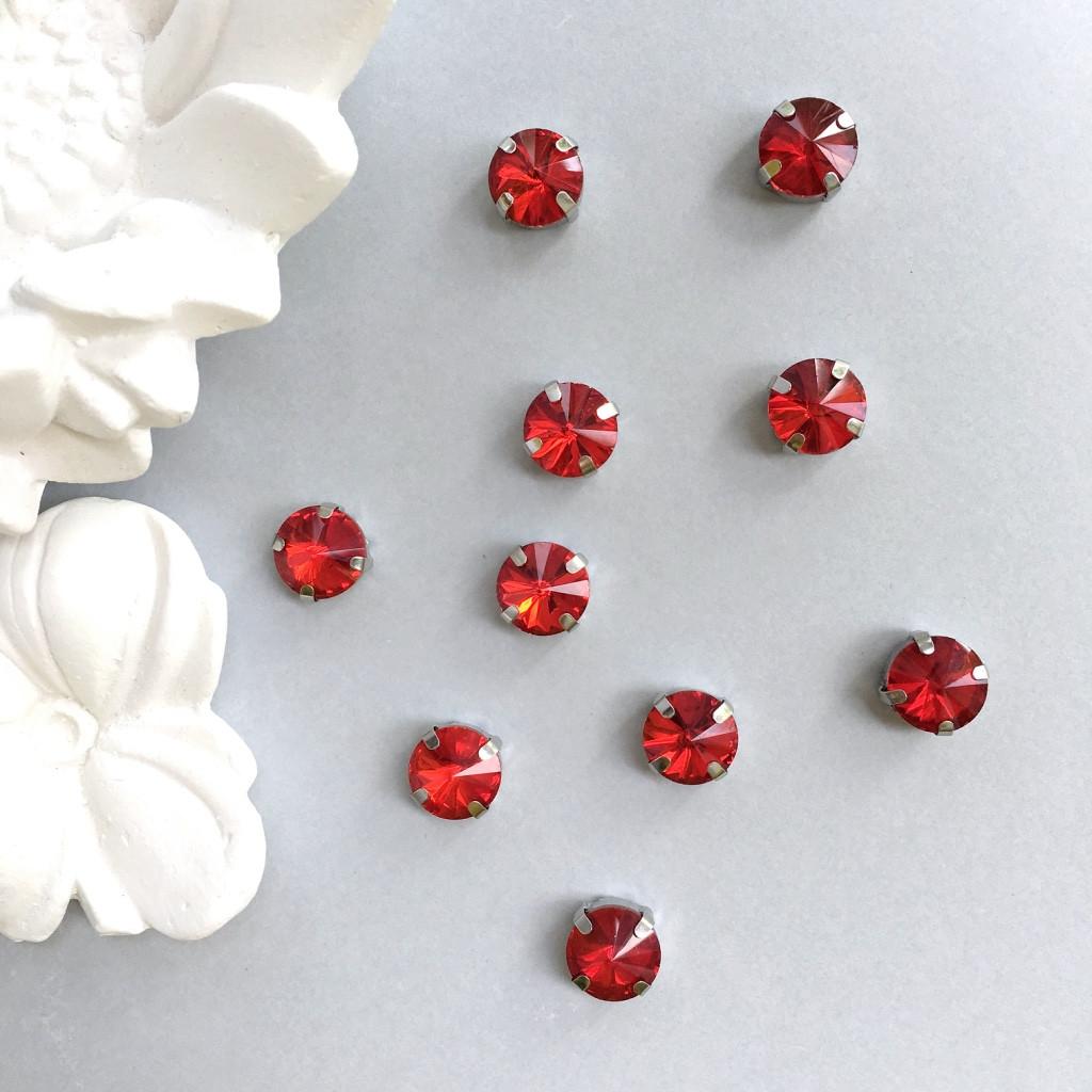Кристаллы Риволи 10 мм в оправе. Цвет: Red (красный)