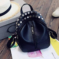 Женский мини рюкзак Ривьет с заклёпками, чёрного цвета 🎁 В подарок браслет и кукла