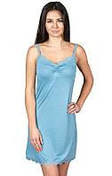 Ночная сорочка из вискозы женская вискозная ночнушка красивая нежная трикотажная, голубая