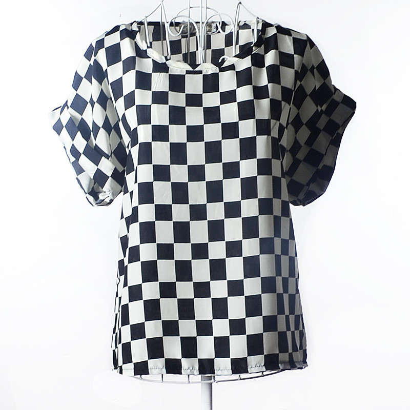 Блузка с коротким рукавом черно-белая  Liva Girl