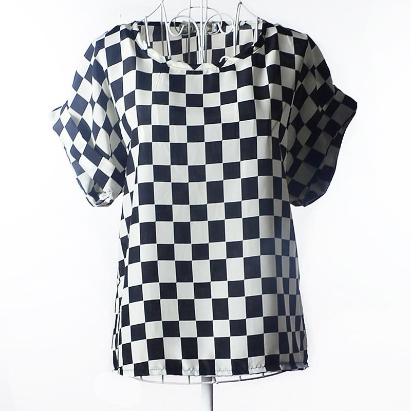 Блузка з коротким рукавом чорно-біла Liva Girl