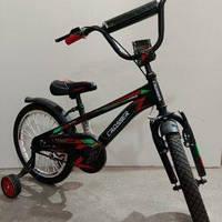 """Велосипед 18"""" дюймов 2-х колесный Crosser G960, черный, ручной тормоз, доп.колеса"""