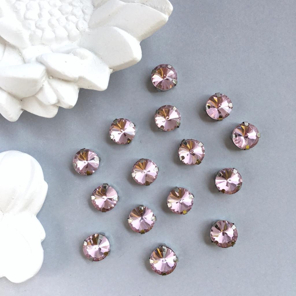 Кристаллы Риволи 10 мм в оправе. Цвет: Pale rose(Пудово-розовый)