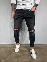 Мужские крутые джинсы , черные (зауженные с дырками)