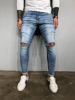 Мужские крутые джинсы , синие (зауженные с дырками) - 3