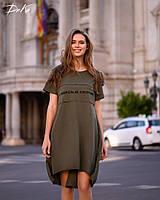 Платье  ассиметричное Ткань турецкий коттон  42-44,46-48  Цвет - коралл, хаки, лаванда, желтый , фото 1