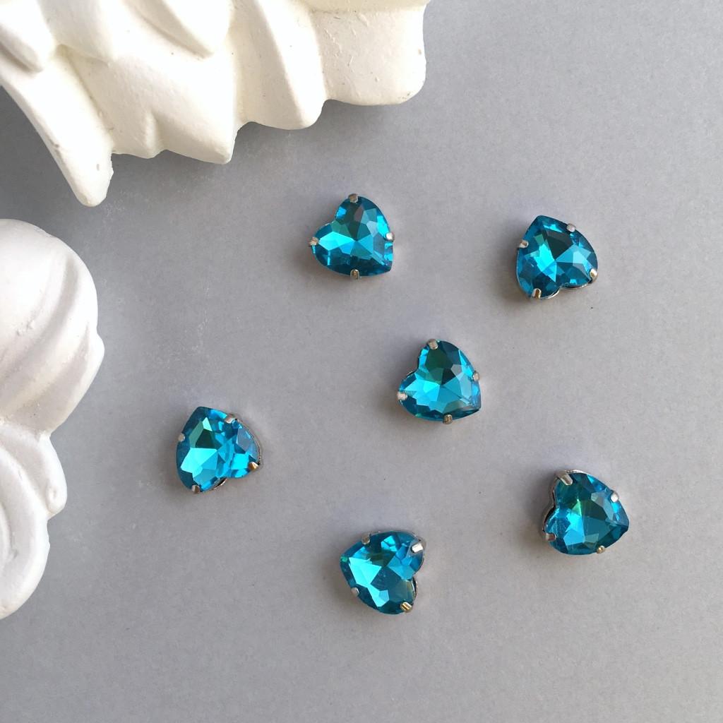 Кристали Сердечка 10 мм в оправі. Колір: Lake blue (Блакитний)