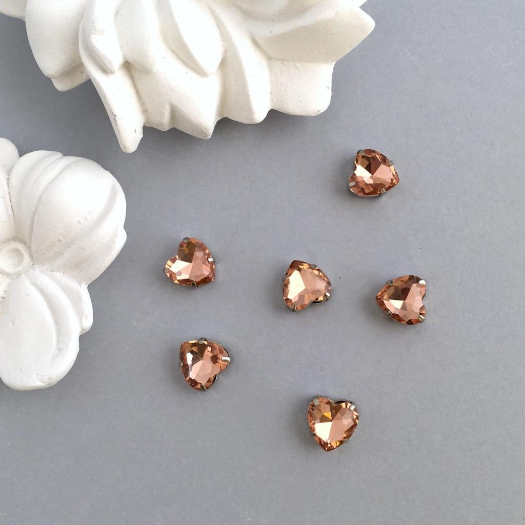 Кристаллы Сердечки 10 мм в оправе. Цвет: Peach (Персиковый)