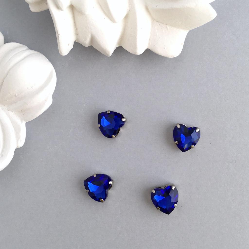 Кристаллы Сердечки 10 мм в оправе. Цвет: Royalblue (Королевский синий)