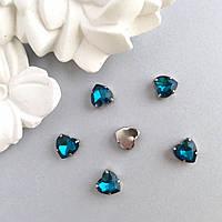 Кристаллы Сердечки 10 мм в оправе. Цвет: Бирюзовый (Глубокий голубой)