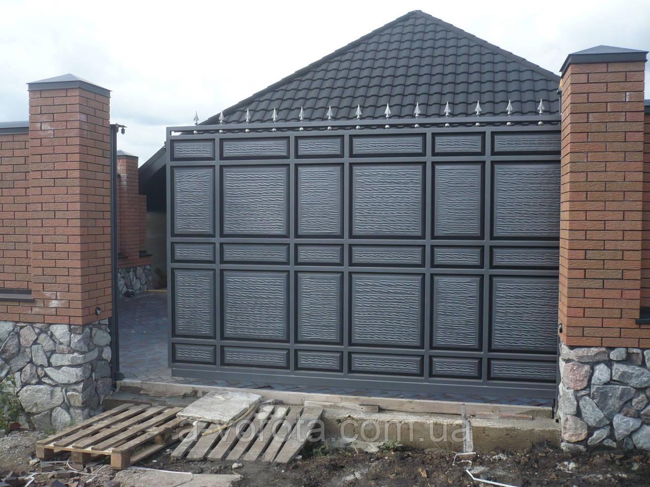 Откатные металлические ворота Филёнка ш3000 в2200 (дизайн филёнка-жатка с узким полем+шарики и пики)