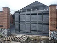 Откатные металлические ворота Филёнка ш3000 в2200 (дизайн филёнка-жатка с узким полем+шарики и пики), фото 1