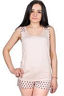 Летняя пижама с шортами женская вискозная домашний комплект в горошек, бежевый