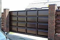 Сдвижные ворота-Филёнка(шоколадка) 3800*2000мм