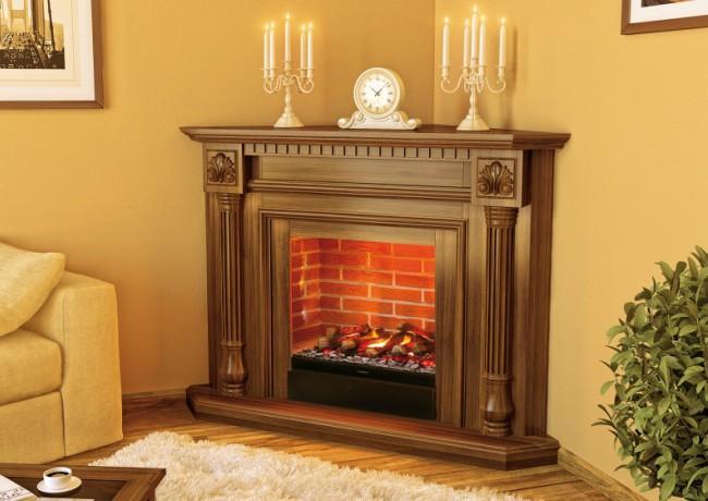 Каминокомплект Fireplace Париж портал изготовлен из МДФ со шпоном натурального дуба с электроочагом