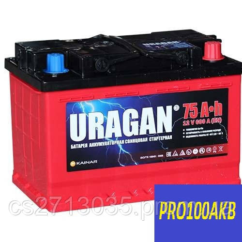 Автомобильный аккумулятор Uragan 75 Ач 600 А (1) L+