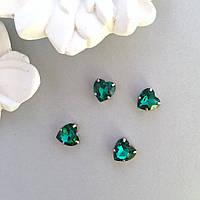 Кристаллы Сердечки 10 мм в оправе. Цвет: Malachite green (малахит зеленый)