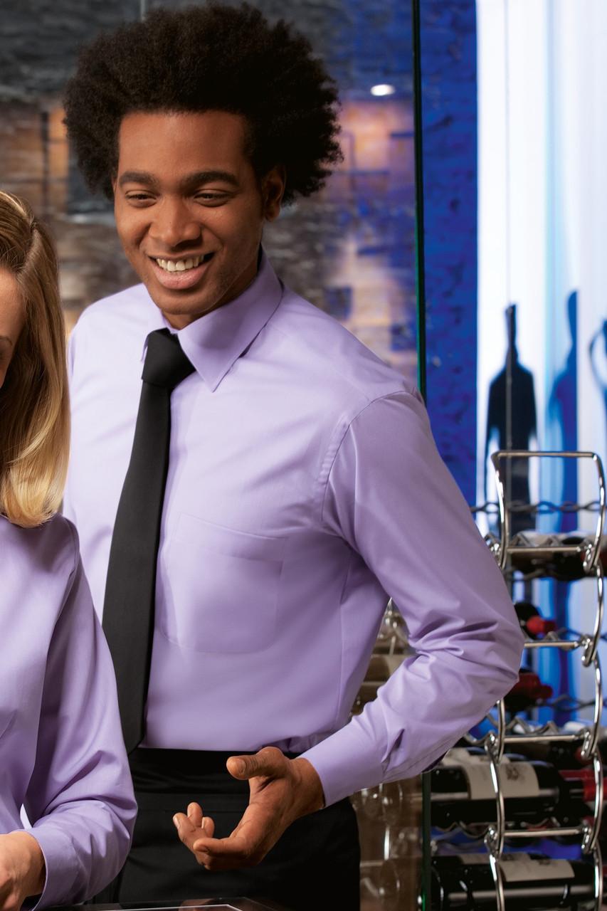 Рубашка бармена и официанта мужская TEXSTYLE длинный рукав лиловая