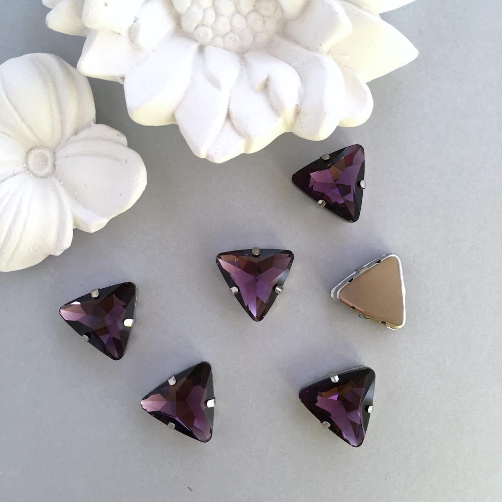 Стразы треугольник 18 мм. Цвет Фиолетовый