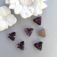Стразы треугольник 18 мм. Цвет Фиолетовый, фото 1
