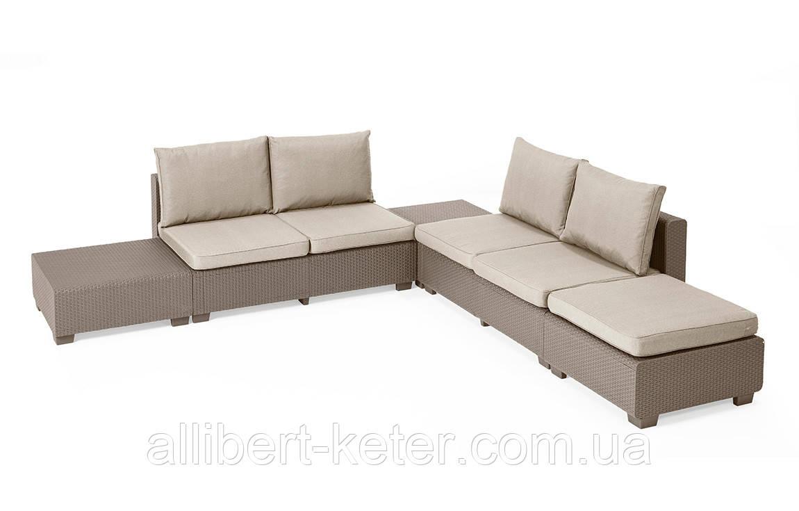 Комплект садових меблів зі штучного ротангу Sapporo Lounge Set капучіно (Allibert)