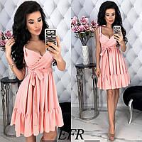2d2e3a876af Женское летнее платье под пояс с открытым декольте и пышной юбкой С-М