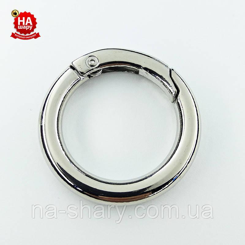 Кольцо карабин 25 мм. Карабин для игрушек (25 мм х 5 мм). Серебро
