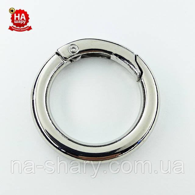 кольцо карабин 25 мм серебро